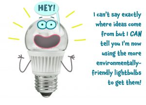 A lightbulb having an idea