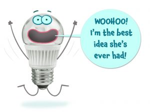 A lightbulb saying it's the best idea ever