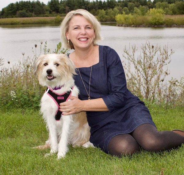 Author Maribeth Boelts and dog Honey