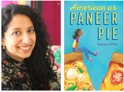Author Supriya Kelkar and the cover of her novel American as Paneer Pie