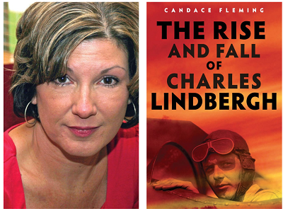 Author Candace Fleming and the cover of her book The Rise and Fall of Charles Lindbergh