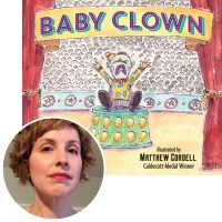 author Kara LaReau and the cover of her book Baby Clown