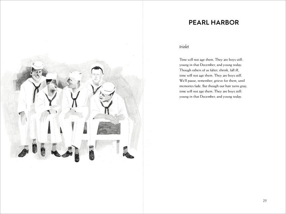 Interior spread from On the Horizon, written by Lois Lowry, with poem and image of American navy sailors before Pearl Harbor.