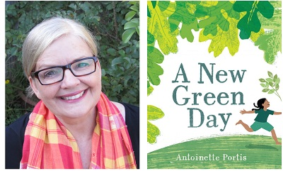 Author Antoinette Portis and the cover of her book A New Green Day.