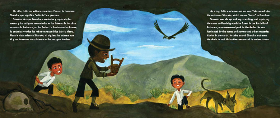 Interior image showing archeologist Julio C. Tello as a young boy, from Sharuko: El Arqueólogo Peruano Julio C. Tello / Peruvian Archaeologist Julio C. Tello.