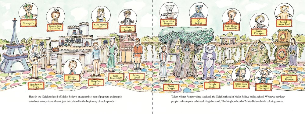 Interior image from Hello, Neighbor! The Kind and Caring World of Mister Rogers, written and illustrated by Matthew Cordell, showing the actors and puppets that appeared in the TV show Mr. Rogers' Neighborhood.