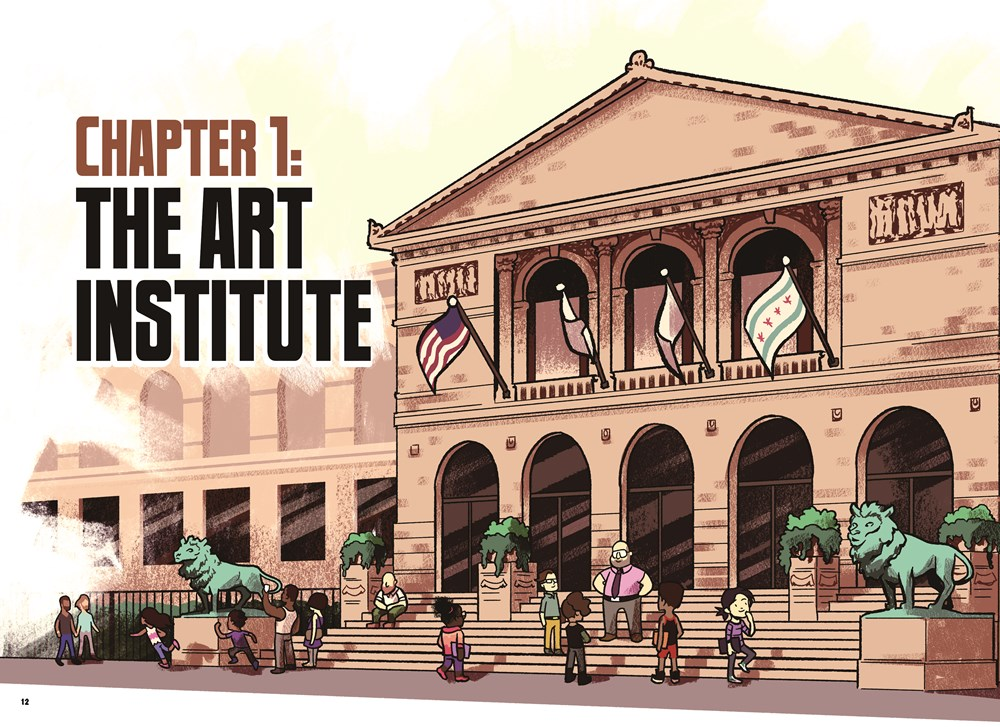 An interior image from the graphic novel Doodleville featuring the outside of the Art Institute of Chicago.