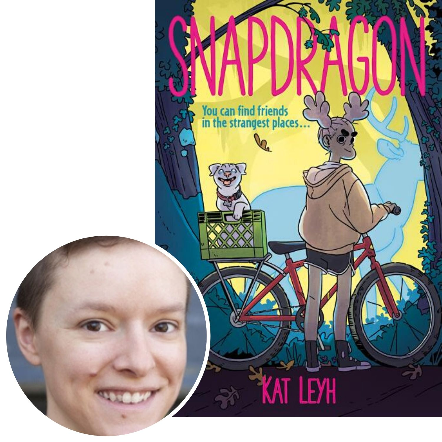 author Kat Leyh and the cover of her graphic novel Snapdragon