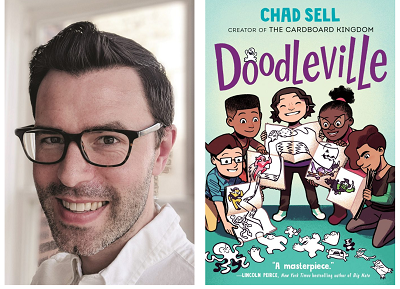 Author Chad Sell and the cover of his graphic novel, Doodleville