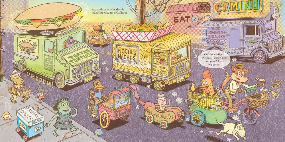An interior spread featuring food trucks from Raúl The Third's picture book ¡Vamos! Let's Go Eat.