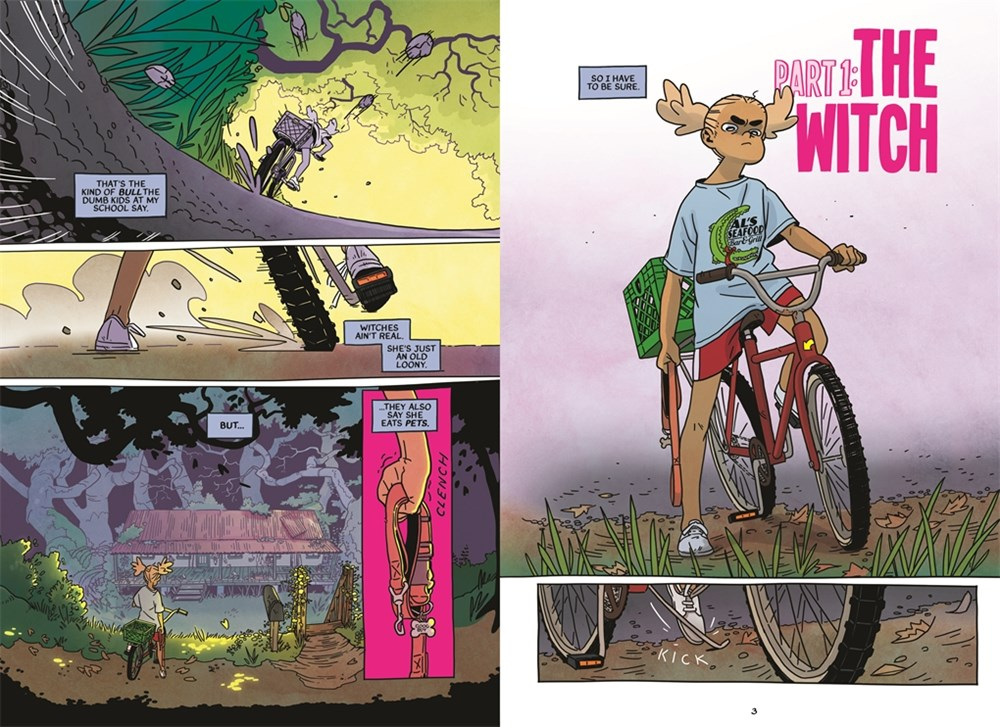 opening spread from Snapdragon, by Kat Leyh, showing a girl on a bike in gloomy woods.