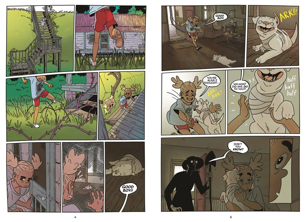 interior spread from Kat Leyh's Snapdragon showing the main character exploring a run-down house rumored to belong to a witch.