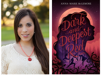 Author Anna-Marie McLemore and the cover of their novel Dark and Deepest Red