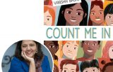 author Varsha Bajaj and the cover of her novel Count Me In