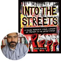 Author Marke Bieschke and the cover of his book Into the Streets