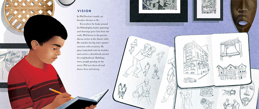 An interior image from Dream Builder: The Story of Architect Philip Freelon featuring Philip Freelon as a child who loved to sketch and draw.