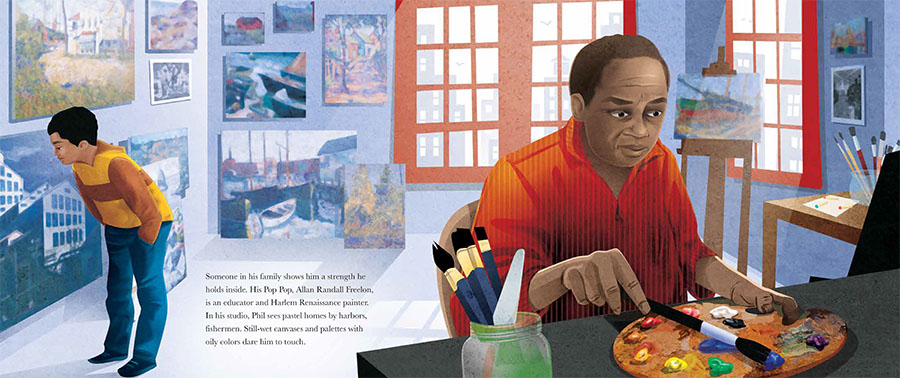An interior image from Dream Builder: The Story of Architect Philip Freelon featuring Philip Freelon as a child with his grandfather, a well-known painter.
