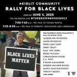 Kidlit community rally for black lives poster