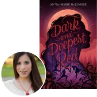 Author Anna-Marie McLemore and the cover of her novel Dark and Deepest Red