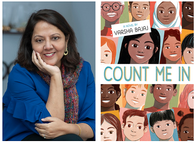 Author Varsha Bajaj and the cover of her novel Count Me In.