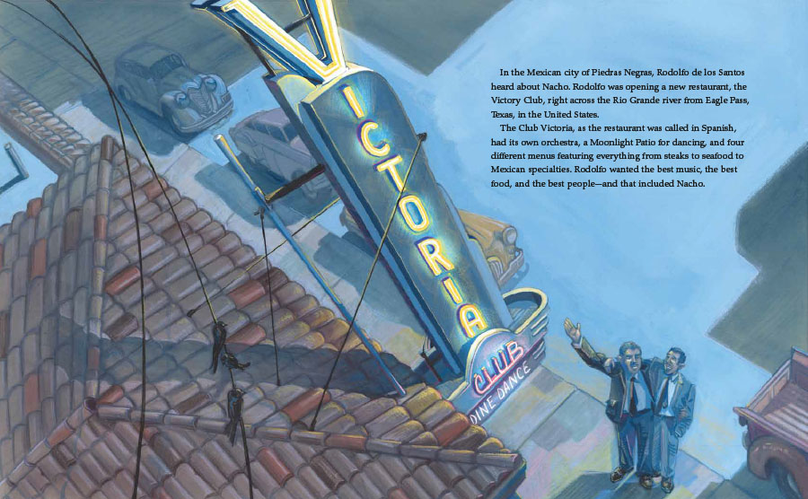 Interior image from Nacho's Nachos, written by Sandra Nickel and illustrated by Oliver Dominguez, depicting Ignacio Anaya outside the restaurant in Mexico where he invented nachos.
