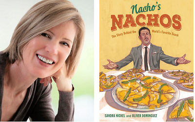 Author Sandra Nickel and the cover of her book Nacho's Nachos, illustrated by Oliver Dominguez