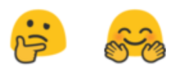 "Emoji symbols showing a face with a hand on chin in ""thinking"" pose and a smiling face with two waving hands."