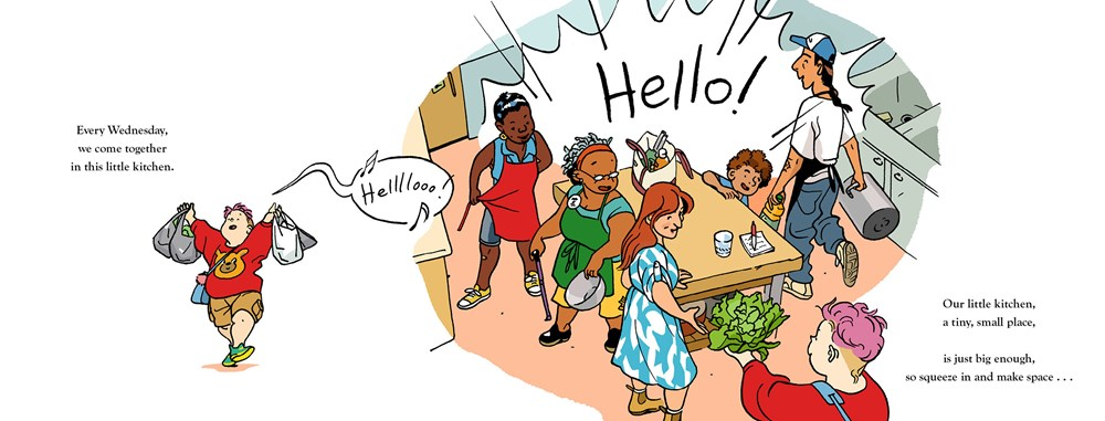 "An interior image from Jillian Tamakis picture book Our Little Kitchen showing diverse community members preparing a shared meal, and greeting each other with a loud, ""Hello!"" The text reads: ""Every Wednesday / we come together / in the little kitchen. / Our little kitchen, ; a tiny, small place / is just big enough / to squeeze in and make space..."""