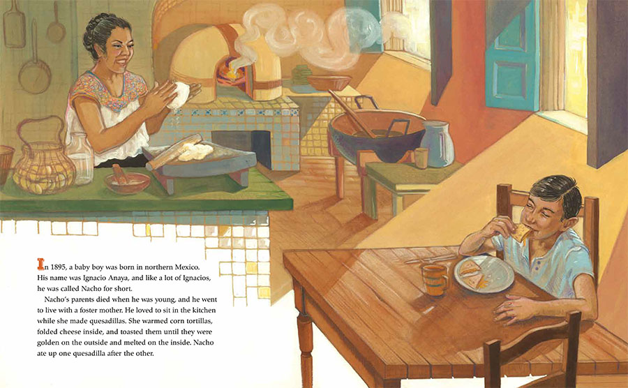 An interior image from Nacho's Nachos, written by Sandra Nickel and illustrated by Oliver Dominguez, depicting Ignacio Anaya, the inventor of nachos, as a young child who loved to eat.