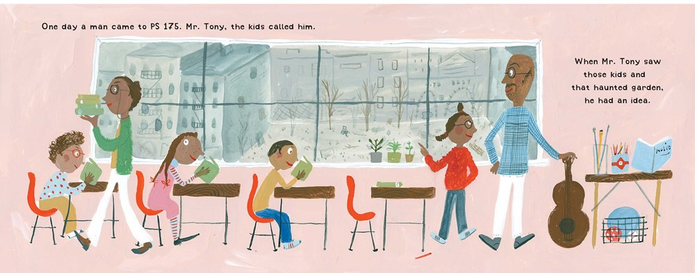 Interior image from Harlem Grown, by Tony Hillery, depicting the author with students at PS 175 in New York City.