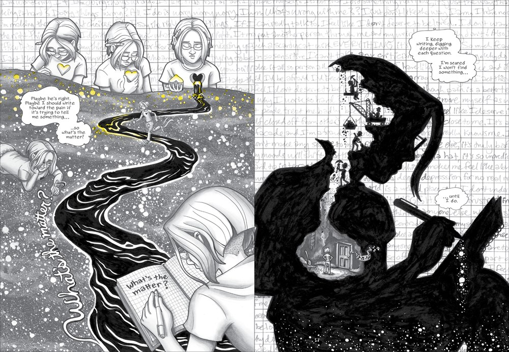 An interior spread from the graphic novel The Dark Matter of Mona Starr, by Laura Lee Gulledge, depicting the main character trying to draw and write about her feelings of depression.