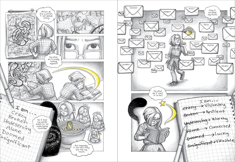 An interior spread from the graphic novel The Dark Matter of Mona Starr, by Laura Lee Gulledge, depicting the main character learning to manage her mental health by drawing adn writing.