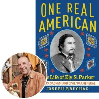 author Joseph Bruchac and the cover of his book One Real American