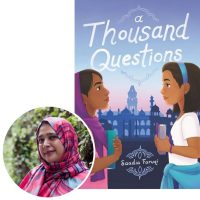 author Saadia Faruqi and the cover of her novel A Thousand Questions