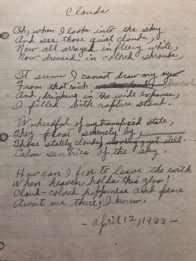 "An image from Gwendolyn Brook's journal, showing a handwritten copy of a poem, ""Clouds,"" which is published for the first time in Exquisite: The Poetry and Life of Gwendolyn Brooks."