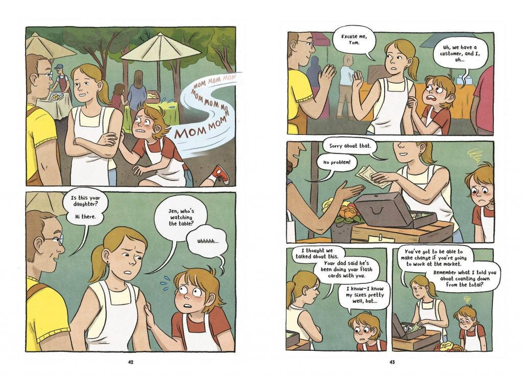 An interior spread from Lucy Knisley's graphic novel Stepping Stones showing a young character reluctantly helping her other at a farmers' market stand.