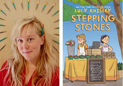 Author and illustrator Lucy Knisley and the cover of her new graphic novel, Stepping Stones
