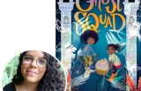 Author Claribel Ortega and the cover of her novel Ghost Squad