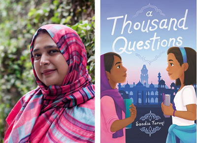 Author Saadia Faruqi and the cover of her novel A Thousand Questions.