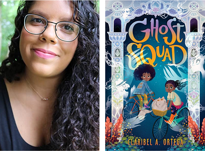 Author Claribel A. Ortega and the cover of her debut novel, Ghost Squad.