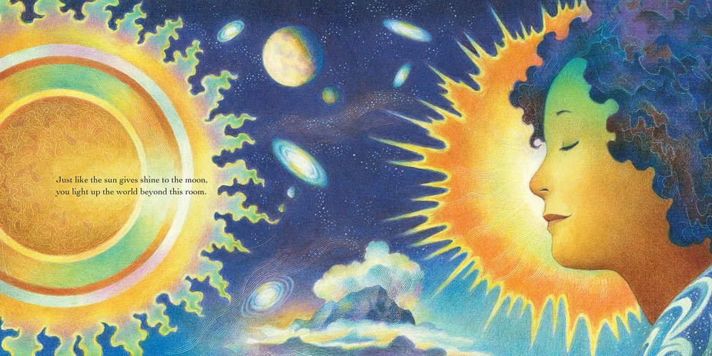 interior image from Child of the Universe, illustrated by Raul Colon, showing a girl's brown face and curly hair against swirling planets and the sun.