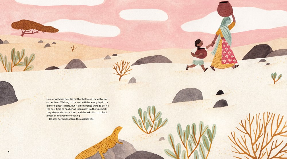 An interior spread from 111 Trees, written by Rina Singh, illustrated by Marianne Ferrer, depicting an image of a boy and his mother carrying water in a rural Indian landscape.