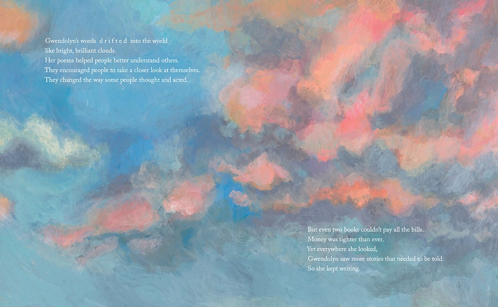 An interior spread from Exquisite: The Poetry and Life of Gwendolyn Brooks depicting a beautiful sky with pink clouds.