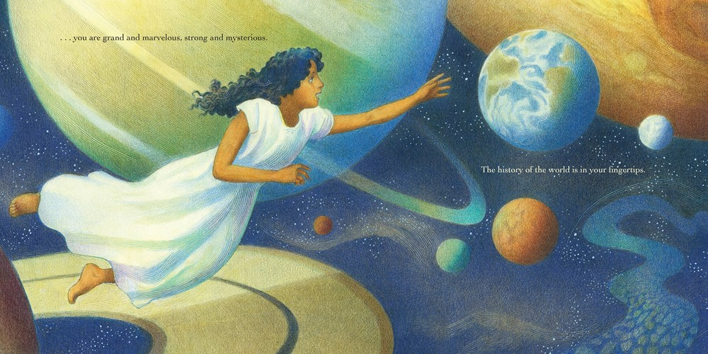 interior image from Child of the Universe, illustrated by Raul Colon, showing a girl soaring through a space scene filled with swirling planets and moons.