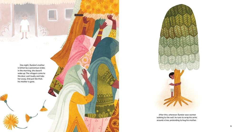 Two illustrations from 111 Trees, written by Rina Singh, illustrated by Marianne Ferrer. On the left-hand page, women in saris walk through a village; on the right-hand page, a boy hugs a tree in memory of his late mother.