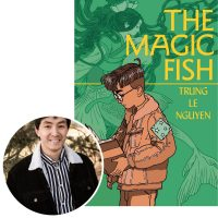 author Trung Le Nguyen and the cover of his graphic novel The Magic Fish