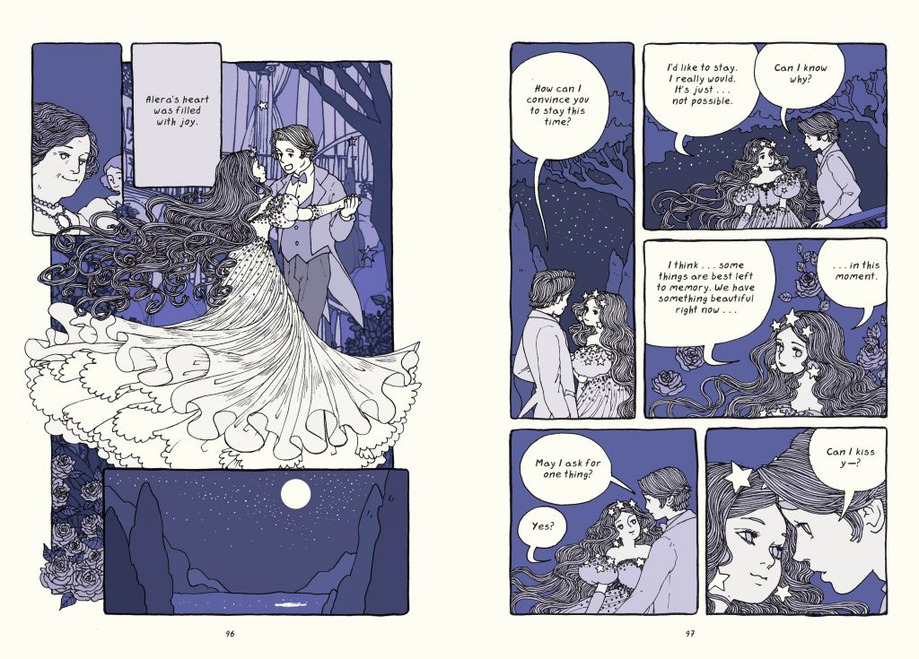 An interior image from Trung Le Neguyen's debut graphic novel The Magic Fish featuring a fairy-tale inspired romantic scene of a couple dancing.