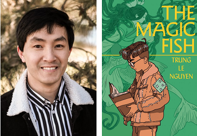 Author Trung Le Nguyen and the cover of his debut graphic novel The Magic Fish.