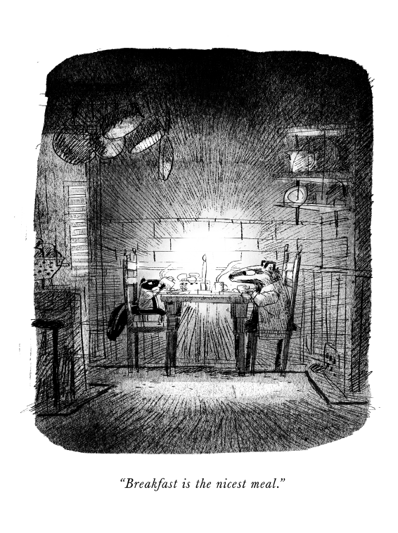 "An interior illustration from Skunk and Badger, written by Amy Timberlake and illustrated by Jon Klassen, featuring the title characters eating at a table. The caption reads, ""Breakfast is the nicest meal."""