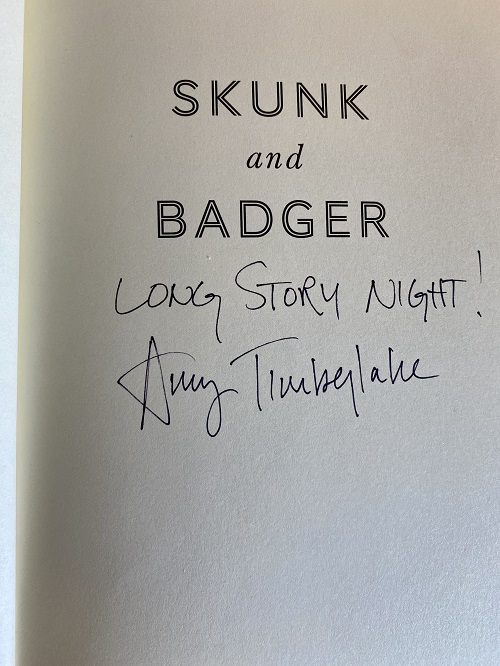 The title page of Skunk and Badger, signed by the author, Amy Timberlake.